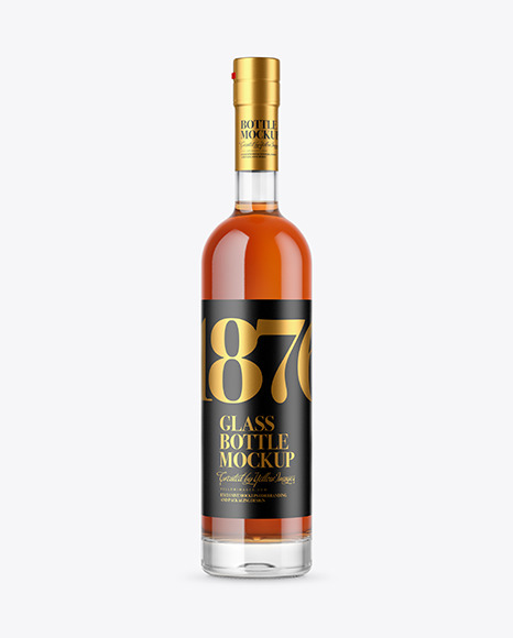 Download Clear Glass Cognac Bottle PSD Mockup