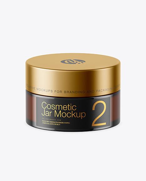 Download Amber Glass Cosmetic Jar PSD Mockup