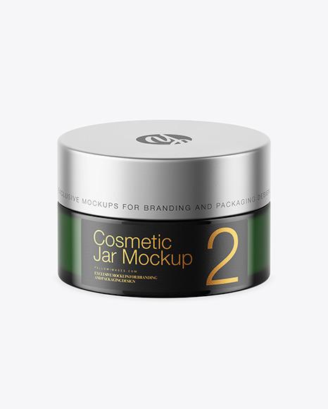 Download Dark Green Glass Cosmetic Jar PSD Mockup