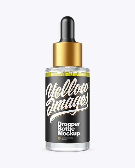 Download Clear Glass Dropper Bottle with Oil PSD Mockup