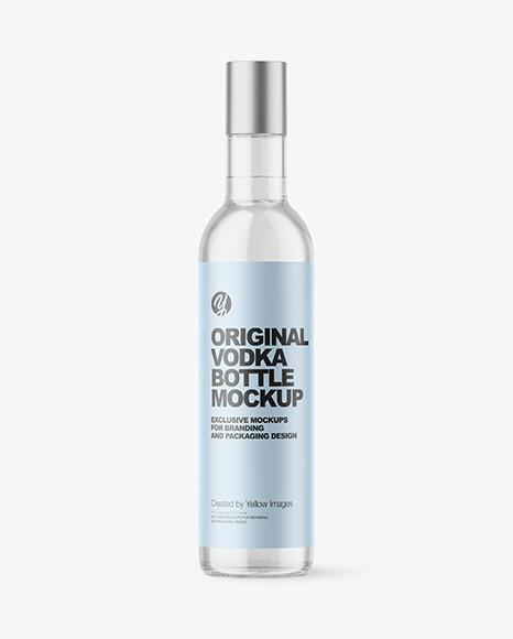 Download Clear Glass Vodka Bottle PSD Mockup
