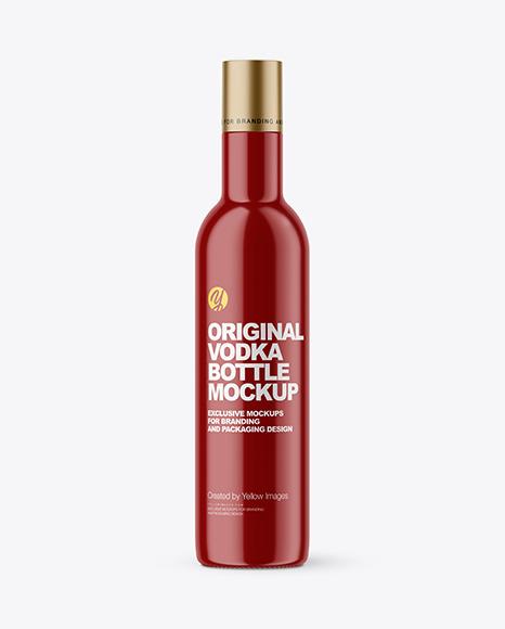Download Glossy Vodka Bottle PSD Mockup