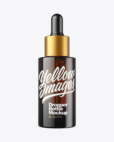 Download Dark Amber Glass Dropper Bottle PSD Mockup