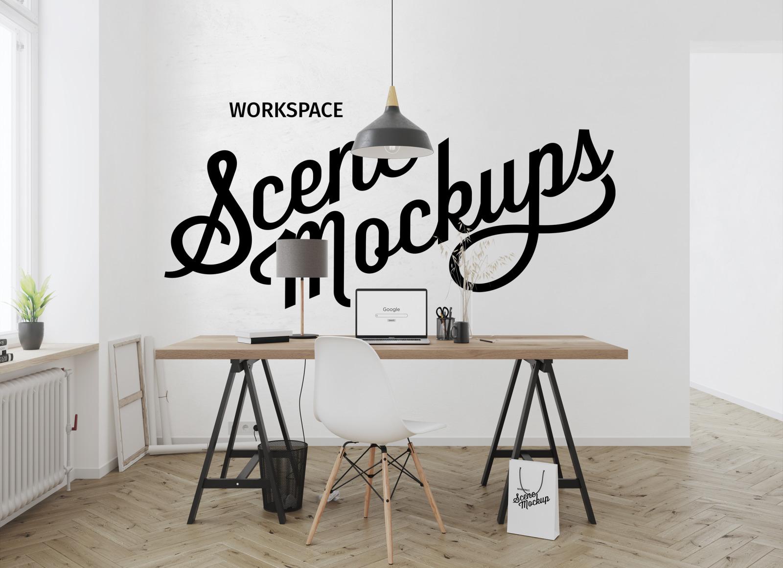 Workspace desk Interior mockups