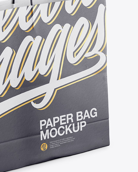 Paper Shopping Bag with Rope Handle Mockup - Halfside View