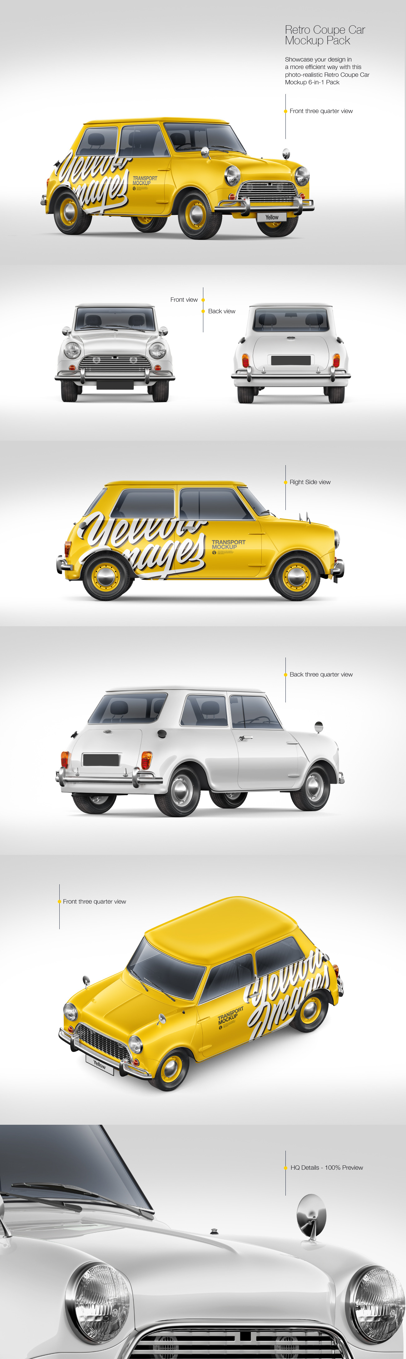 Retro Coupe Car Mockup Pack