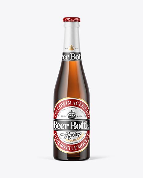 Download Amber Glass Beer Bottle PSD Mockup