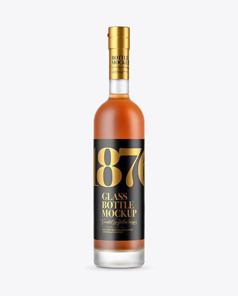Download Frosted Glass Cognac Bottle PSD Mockup