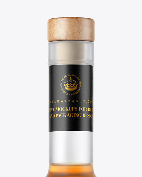 Frosted Glass Cognac Bottle Mockup