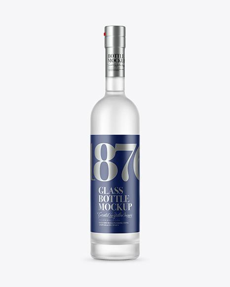 Download Frosted Glass Vodka Bottle PSD Mockup