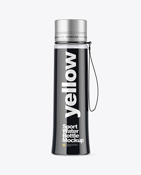 Sport Bottle With Black Water Mockup