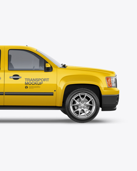 Download Full Size Pickup Truck Mockup Side View In Vehicle Mockups On Yellow Images Object Mockups Yellowimages Mockups