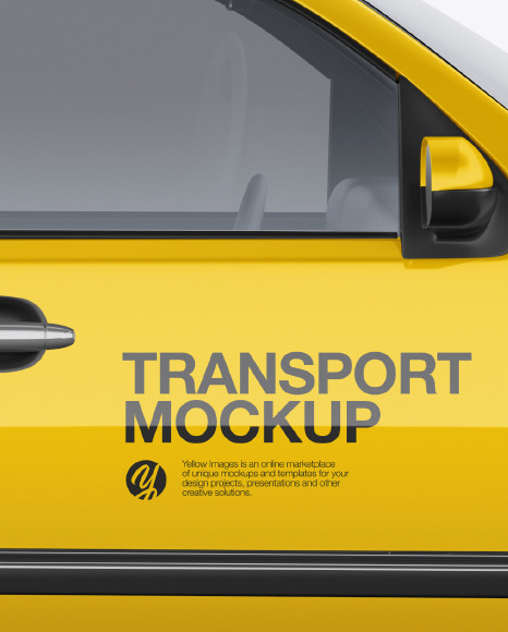 Download Full Size Pickup Truck Mockup Side View In Vehicle Mockups On Yellow Images Object Mockups PSD Mockup Templates