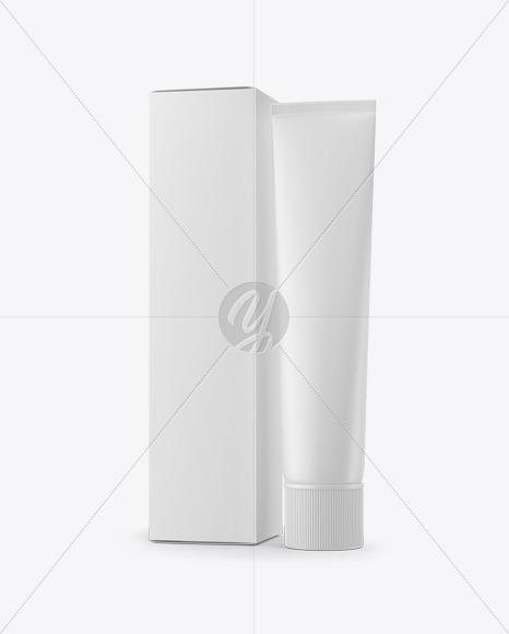 Matte Cosmetic Tube & Paper Box Mockup