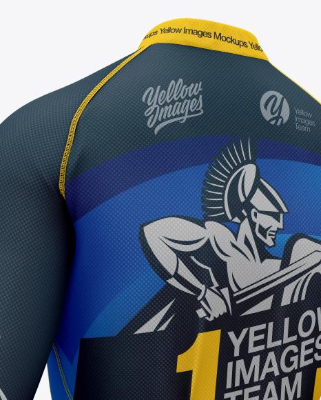 Women`s Cycling Jersey Mockup - Back Half Side View
