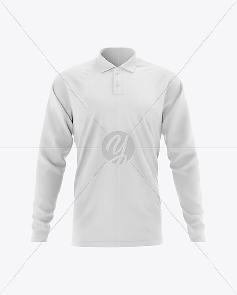Men's Raglan Long Sleeve Polo Shirt Mockup - Front View