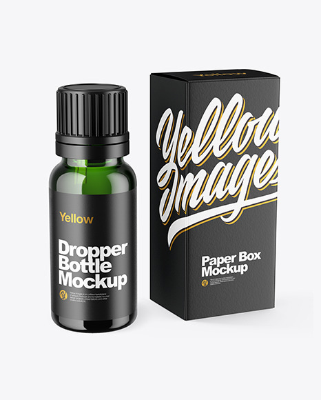 Green Glass Dropper Bottle with Box Mockup