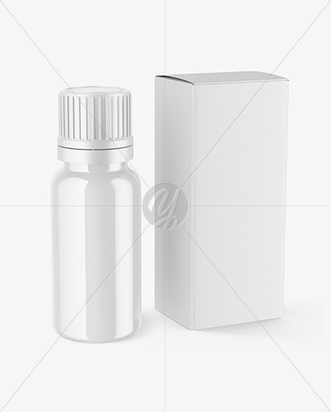 Glossy Dropper Bottle with Box Mockup