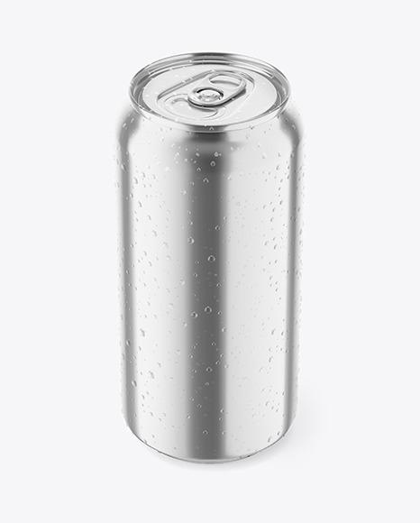 Metallic Drink Can W/ Condensation Mockup