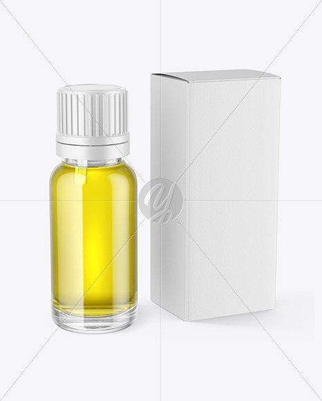 Glass Dropper Oil Bottle with Box Mockup