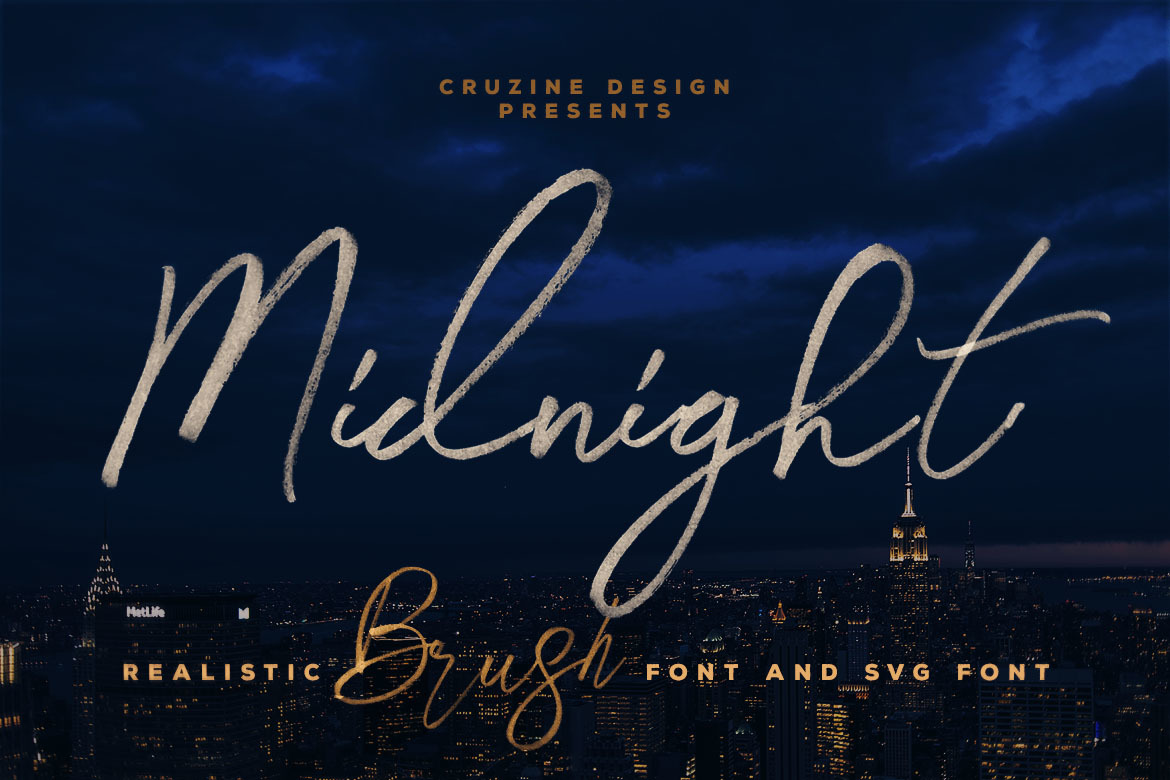 Midnight Brush & SVG Font in Fonts on Yellow Images