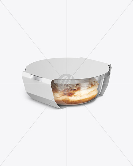 Food Container W Donut Mockup In Pot Tub Mockups On Yellow