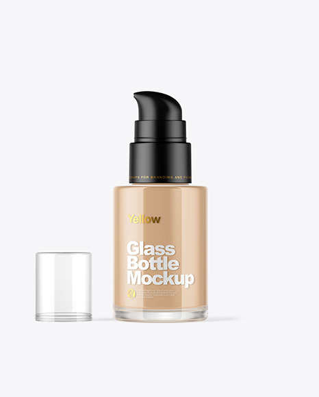 Clear Cosmetic Pump Bottle Mockup