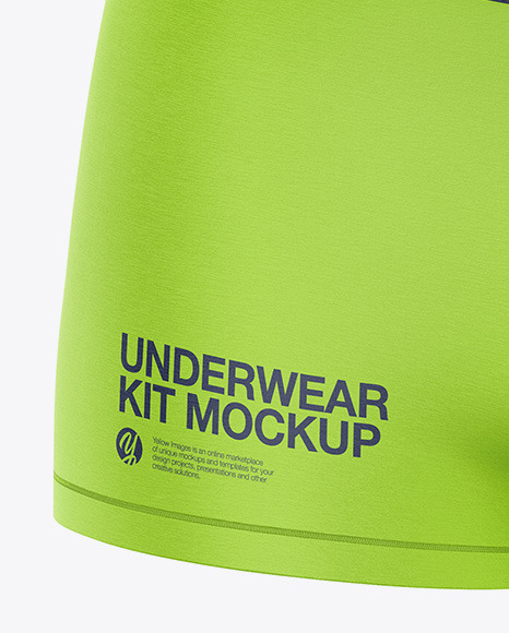 Download Melange Womens Underwear Kit Mockup Front Half Side View Yellow Images