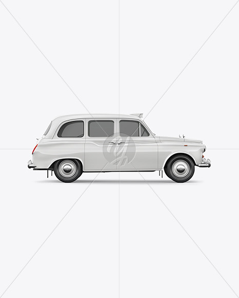 Retro Cab Car Mockup - Side View - Yellowimages Mockups