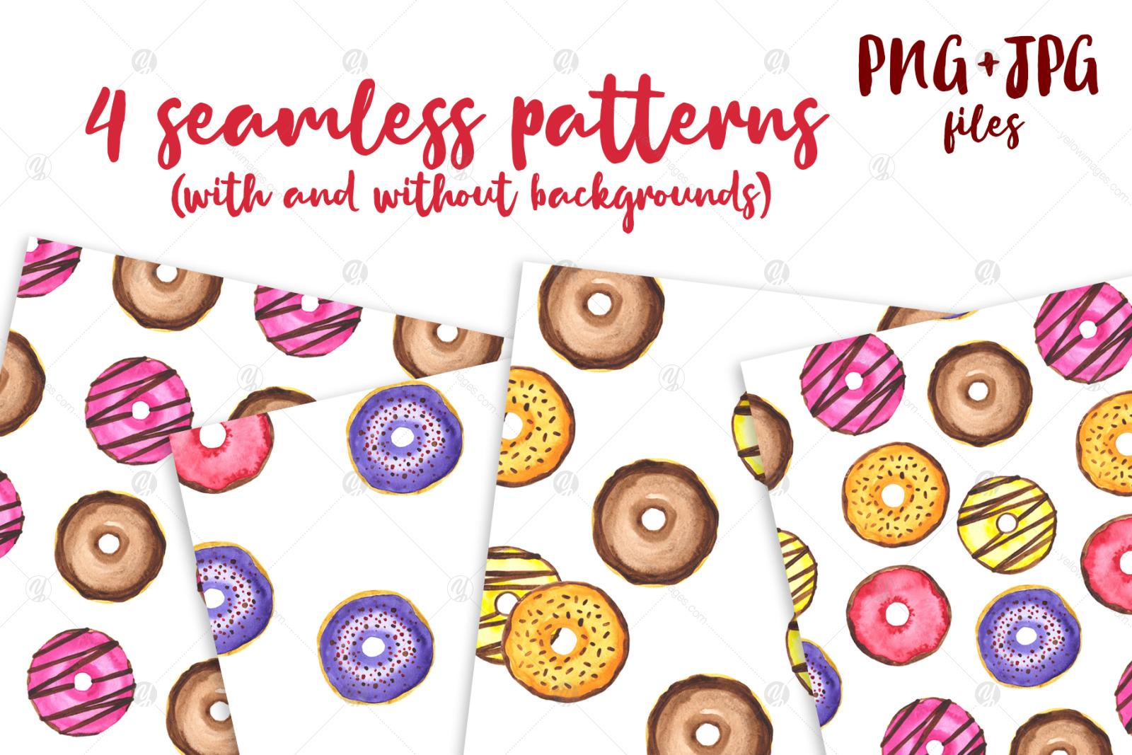 Donuts Watercolor mini Set. Clipart