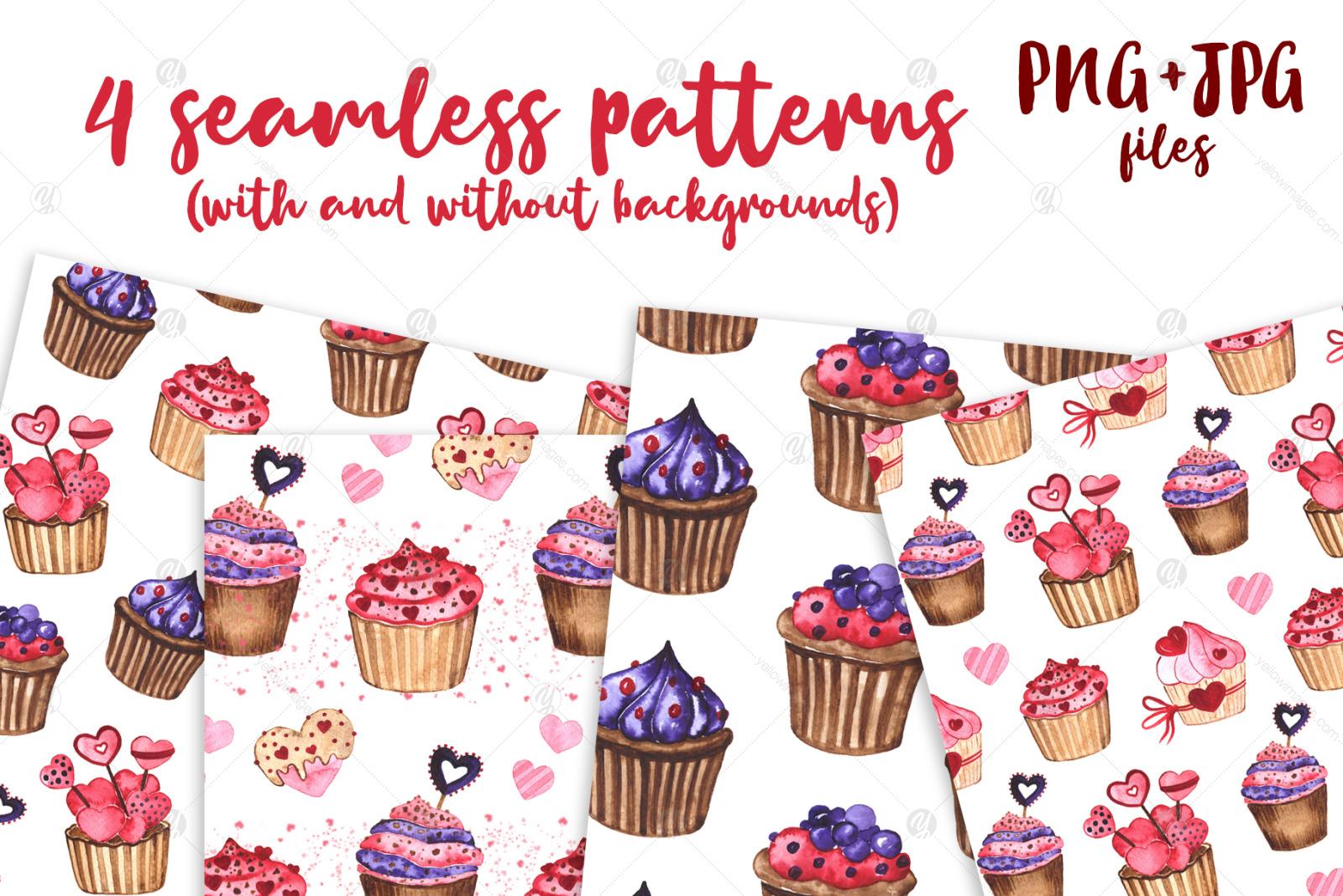 Cupcakes. Watercolor mini Set