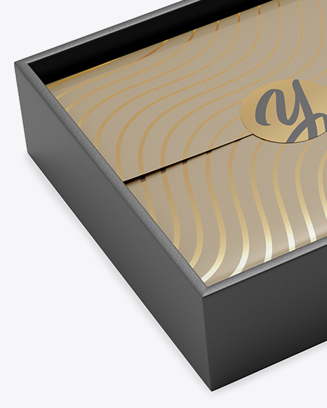Opened Gift Box Mockup - Half Side View
