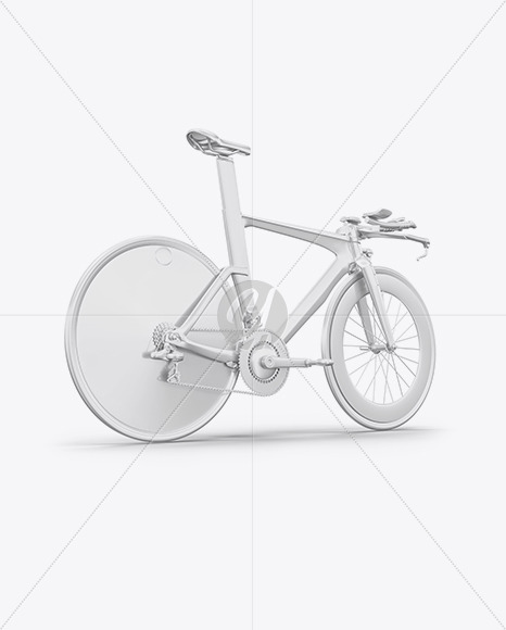 Carbon Triathlon Bicycle Mockup - Back Half Side View - Yellowimages Mockups