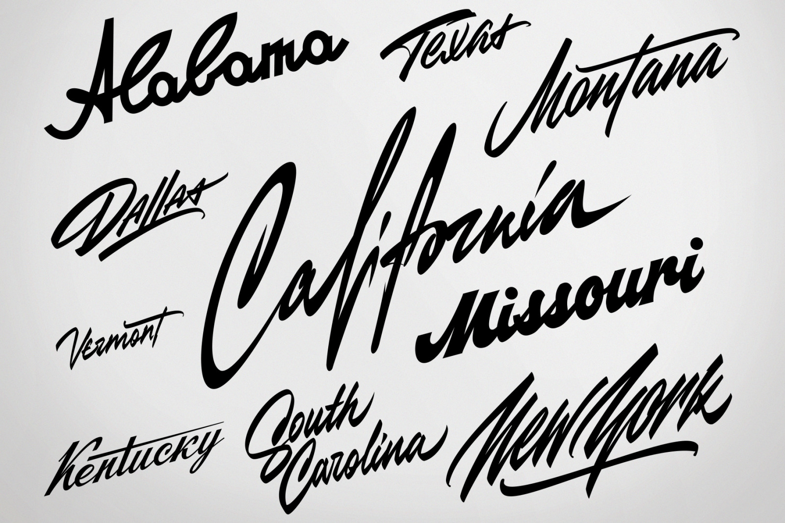 USA states vector lettering design elements