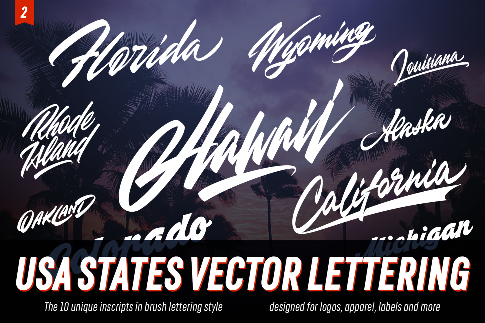 USA states vector lettering elements
