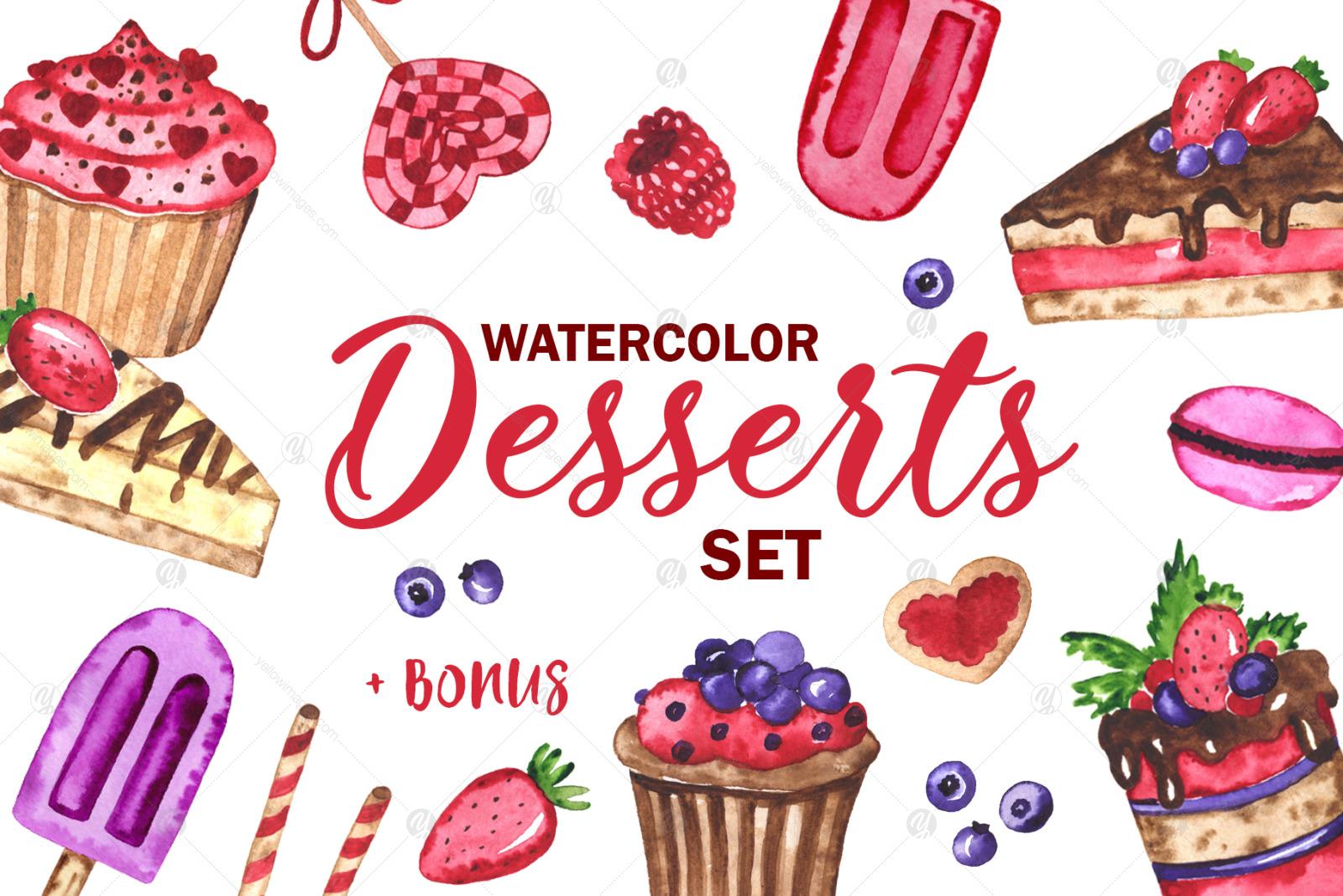 Desserts. Watercolor set. Clipart