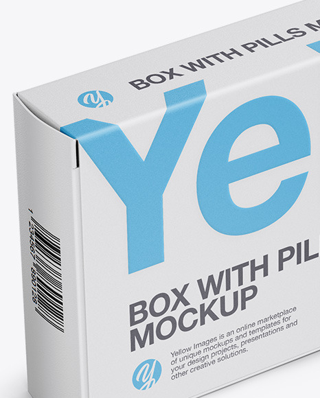 Matte Pills Box Mockup - Halfside View (High-Angle Shot)