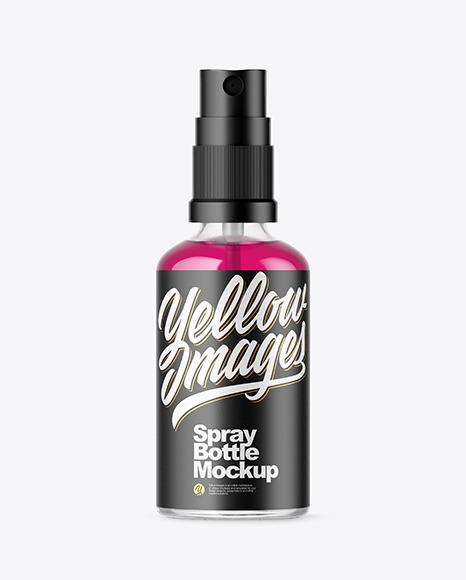 Spray Bottle With Liquid Mockup