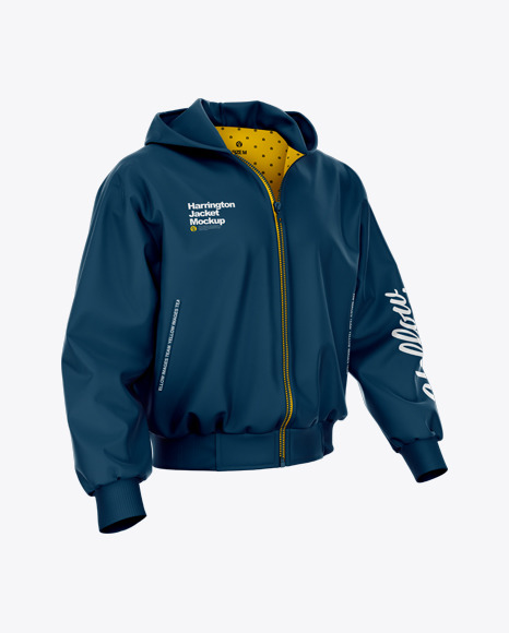 Harrington Hooded Jacket Mockup - Half Side View