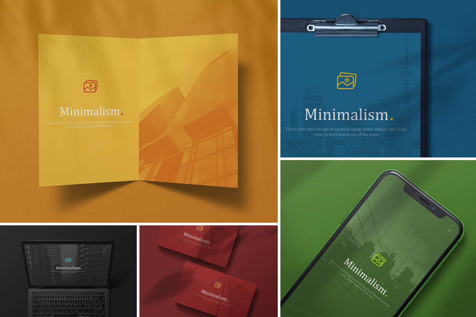 Minimalistic Branding Mockups In Stationery Mockups On Yellow