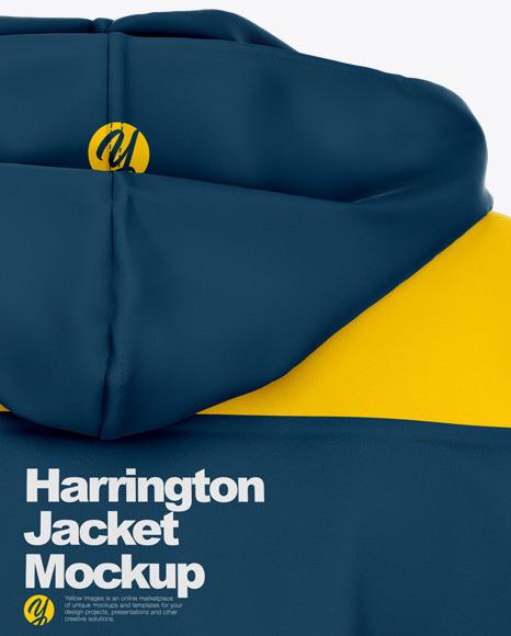 Harrington Hooded Jacket Mockup - Back View