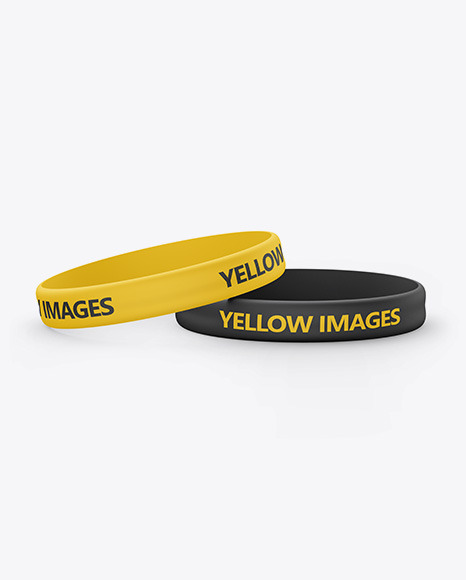 Two Matte Silicone Wristbands Mockup