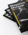 Three Matte A4 Magazines Mockup