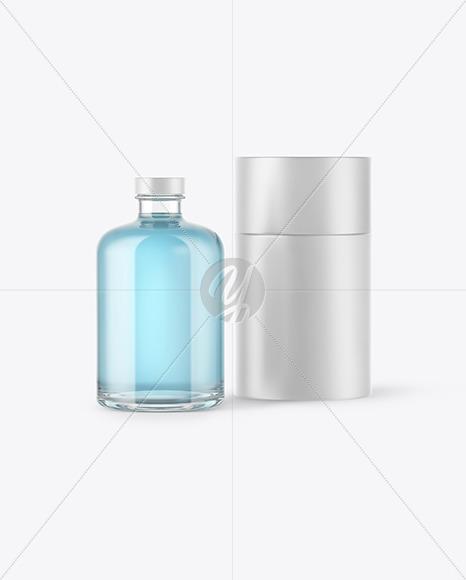 Gin Bottle w/ Paper Tube Mockup