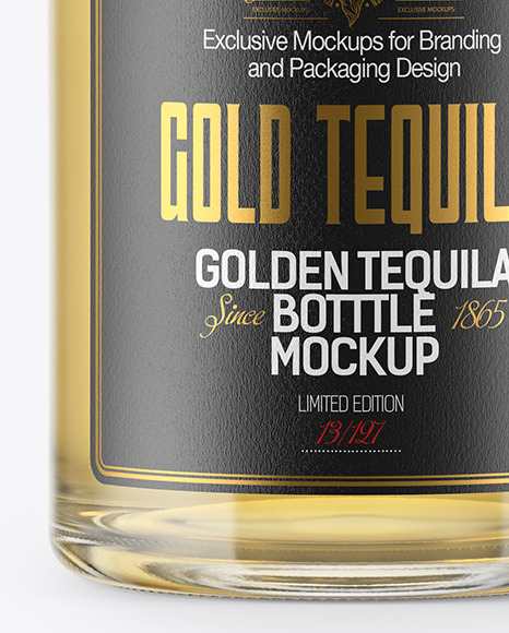Golden Tequila Bottle w/ Paper Tube Mockup