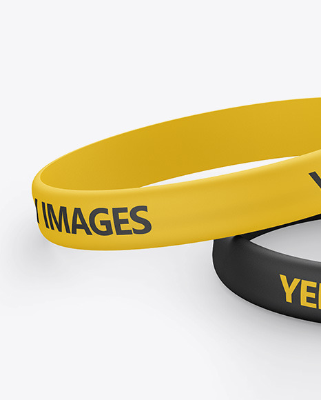 Two Matte Silicone Wristbands Mockup In Apparel Mockups On Yellow