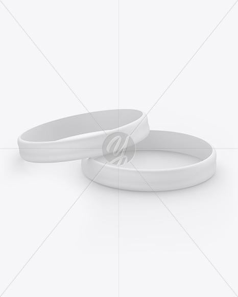 Two Matte Silicone Wristbands Mockup