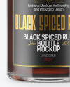 Black Rum Bottle w/ Paper Tube Mockup