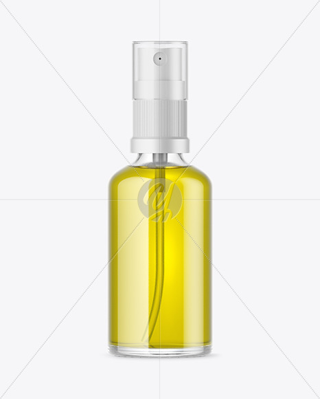 Clear Glass Spray Bottle with Oil Mockup
