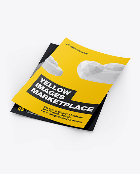 Download Two A4 Papers Mockup In Stationery Mockups On Yellow Images Object Mockups PSD Mockup Templates